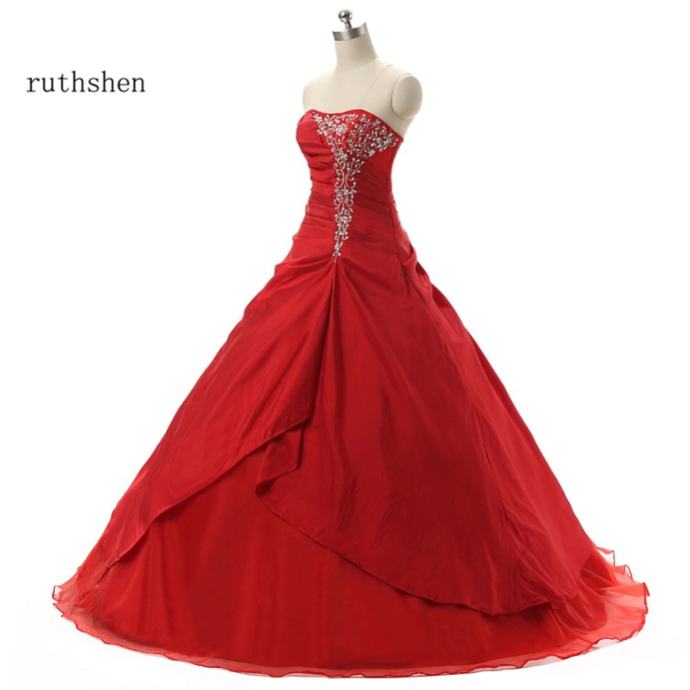 Robe De Quinceanera rouge pas cher ruthésène plis volants broderie mascarade robes De bal 2018 Vestidos De 15 Anos Debutante