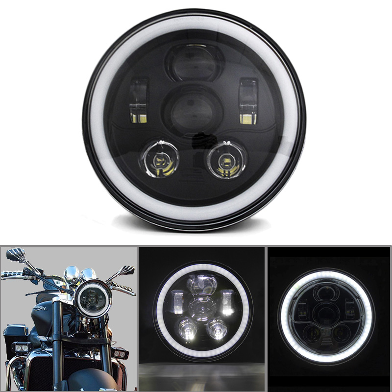 SKTYANTS 7 Round headlight motorcycle led Daymaker White halo DRL High Low Beam for Harley(1 pcs) 7inch round 105w led projector headlight h4 drl high low beam yellow halo angel eyes for harley 07 15 wrangler