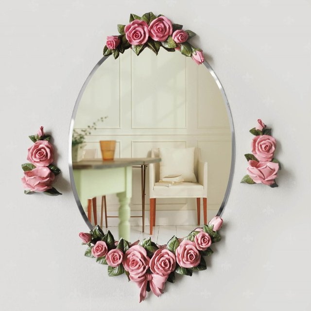 Free Shipping The European Waterproof Rose Mirror Retro Fashion Decorative  Wall Mirror Home Decor Mirrors Wall