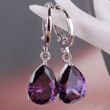 Elegant Purple Crystal Zircon Brincos Silver Dangle Earrings for Women Jewelry Wedding Drop Earings Engagement Ladies Earring
