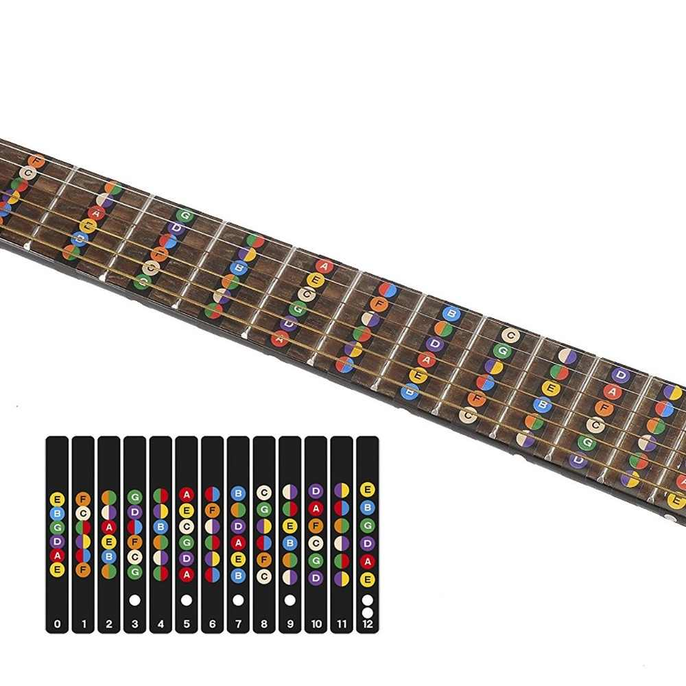 Guitarra fretboard notas mapa etiquetas etiqueta fingerboard traste decalques para 6 cordas acústico guitarra elétrica
