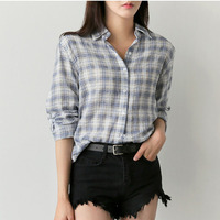 BOBOKATEER Plaid Shirt Women Blouses White Shirts Ladies Tops Long Sleeve Blouse Camisas Blusas Mujer De