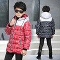 2016 Meninas novas de inverno Crianças meninos Grosso casaco com capuz casaco para baixo confortável bonito Roupa do bebê Roupa Das Crianças