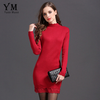 YuooMuoo New Brand Design European Style Lace Patchwork Knitted Dress Women Autumn Sweater Dress High Quality