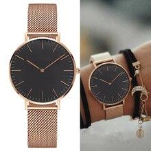 Модные женские часы из нержавеющей стали с ремешком кварцевые наручные часы ультра-тонкие женские часы под платье мужские часы 38 мм Reloj Mujer