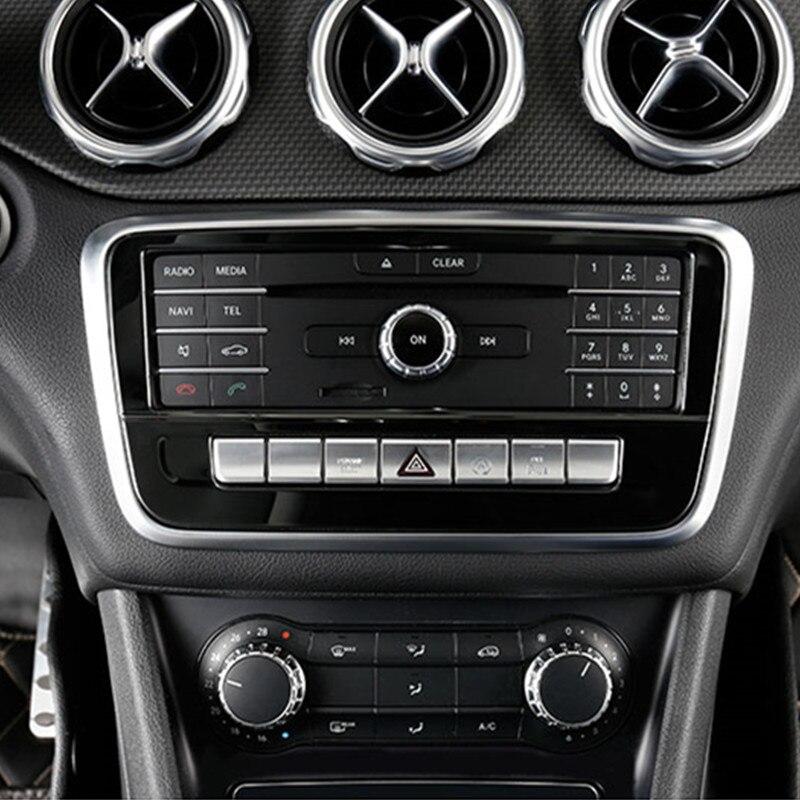 Черная центральная консоль CD рамка декоративная накладка для Mercedes Benz GLA X156 CLA C117 A Class W176 2013-2018 нержавеющая сталь