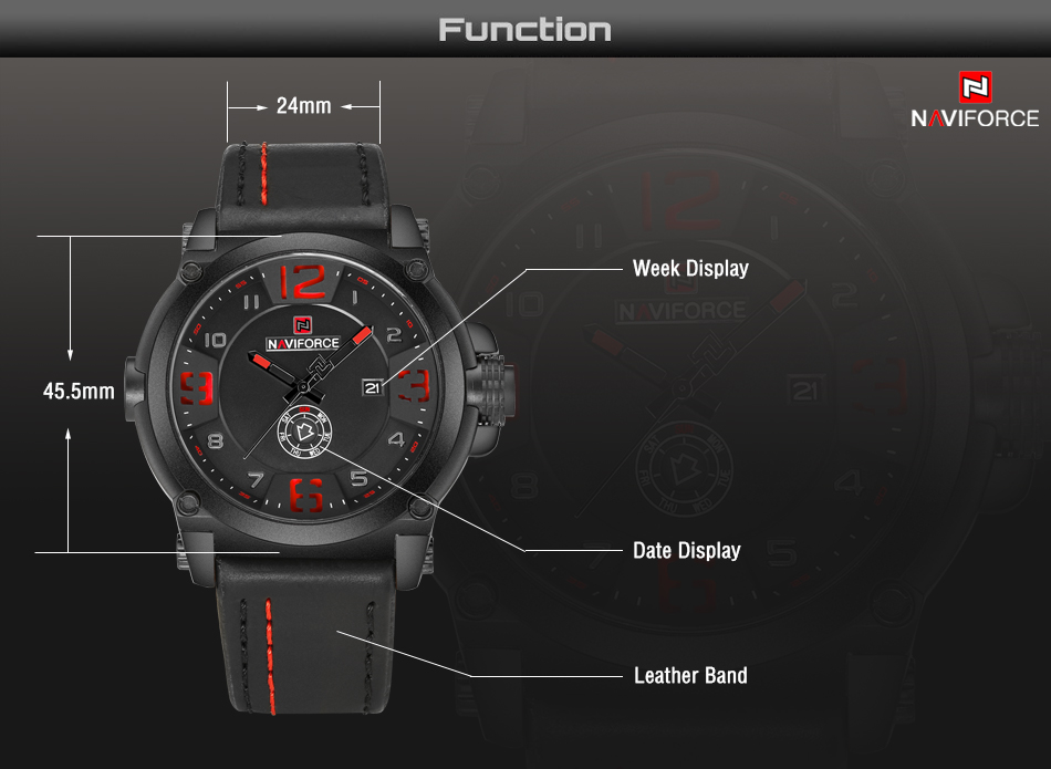 2-1  High Model Luxurious NAVIFORCE Males Sports activities Watches Males's Military Navy Leather-based Quartz Watch Male Waterproof Clock Relogio Masculino HTB1VK0Wjh3IL1JjSZPfq6ArUVXa8