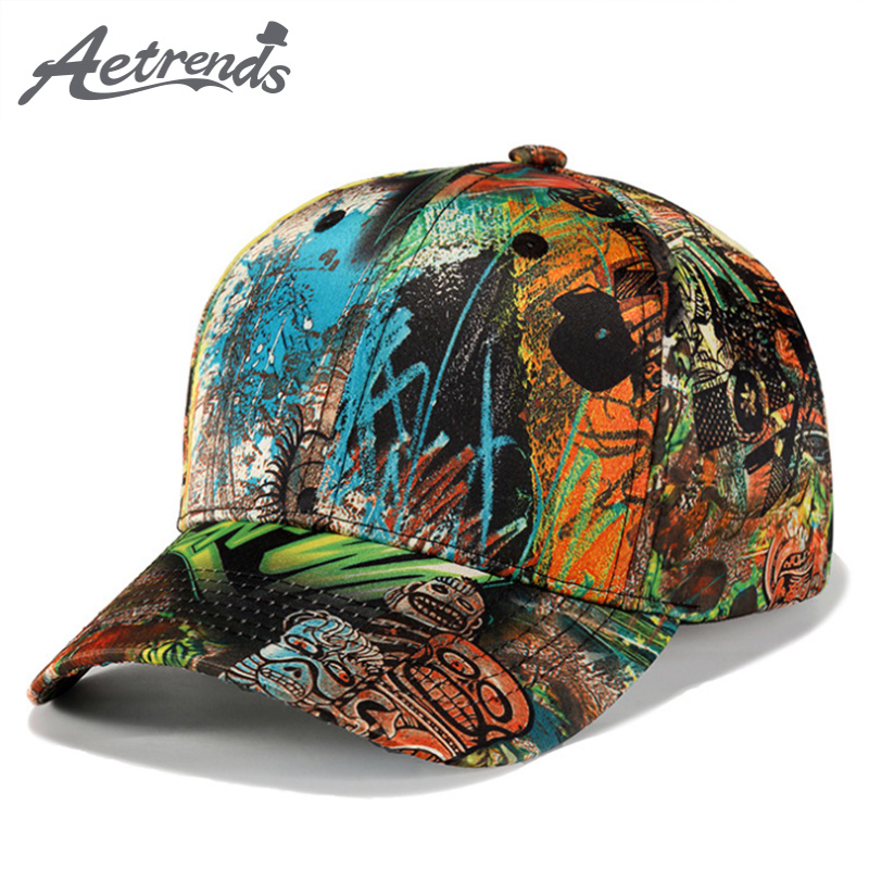 [AETRENDS] Vintage Graffiti Design   Baseball     Cap   Men Women Outdoor Sport Snapbacks Hat Z-6250