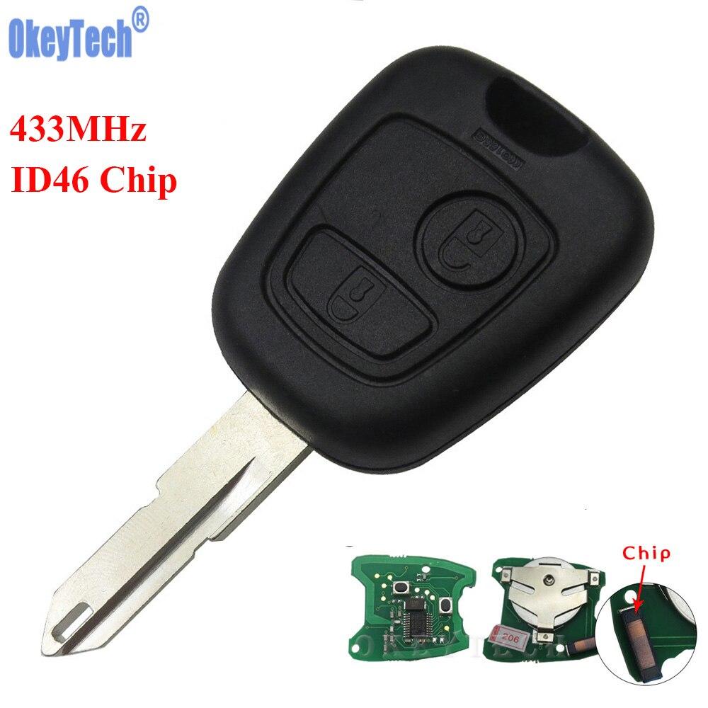 Okeytech 2 кнопки ID46 чип 433 мГц автомобиль дистанционного ключа для Citroen C2 Ключевые Замена NE73 режиссерский лезвие Автозапуск брелок с Батарея