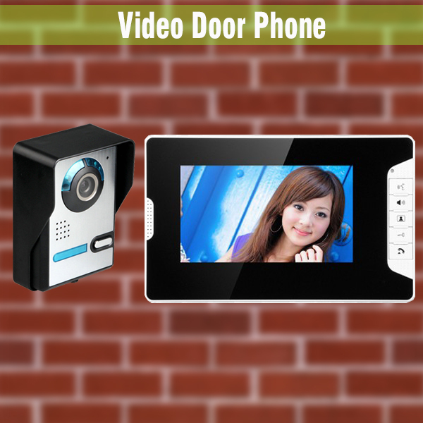 7 Inch LCD Monitor wired video intercom Video Door Phone System visual intercom video doorbell for home villa Surface mounted homefong villa wired night visual color video door phone doorbell intercom system 4 inch tft lcd monitor 800tvl camera handfree
