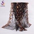Элегантный Черный Длинные Шарфы Новый Дизайн 100% Чистого Шелка Органза Шелковый Шарф Отпечатано 200*60 см Марка Вышивка Дамы шарфы Обертывания