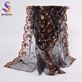 Elegant Black Long Scarves New Design 100%  Pure Silk Organza Silk Scarf Printed 200*60cm Brand Embroidery Ladies Scarves Wraps