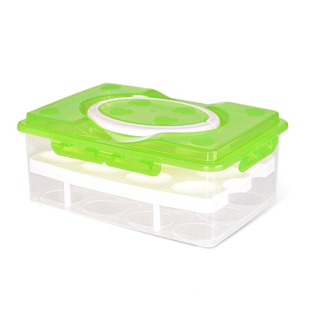 24 Grid Ei Box Lebensmittelbehälter Organizer Bequem Aufbewahrungsboxen Doppelschicht Durable Multifunktionale Schärfer Küche Produkte