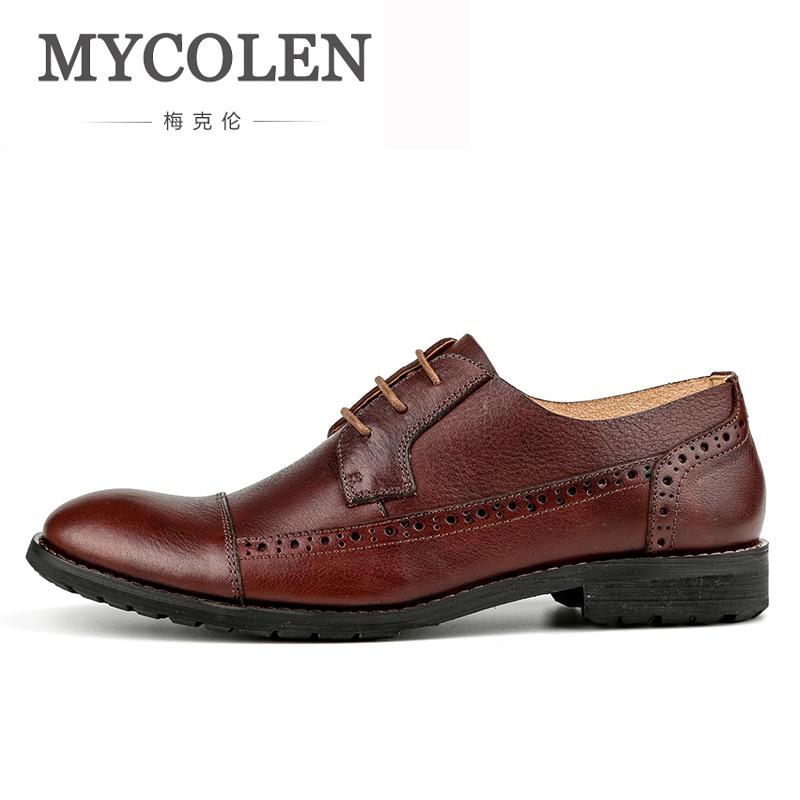 цена на MYCOLEN Cow Leather For Men Shoes Adult Spring Autumn Fashion Business Casual Men Dress Shoes Quality Erkek Ayakkabi Deri