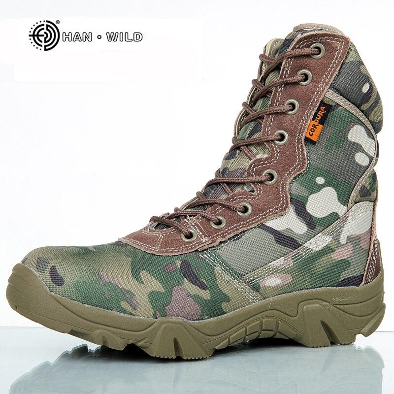 2017 Männer Military Tactical Stiefel Winter Atmungsaktives Leder Camouflage Schnürstiefel Hohe Kampf Stiefeletten Männer Arbeitsschuhe Home
