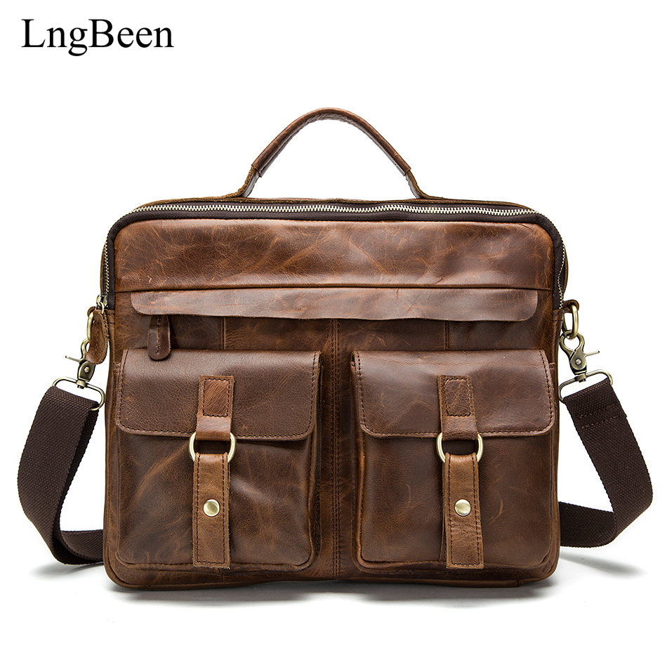 Lngbeen Genuine Leather Coffee Men Briefcase 14 inch Laptop Business Bag Cowhide Men's Messenger Bags Luxury Lawyer Handbags цена и фото