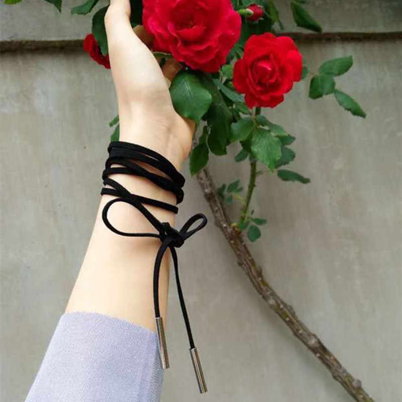 Wielowarstwowe długie czarne zamszowe aksamitne gotyckie Harajuku Choker naszyjniki dla kobiet obojczyka Collare moda biżuteria Bijoux naszyjnik