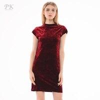 PK Red Velvet Dress Summer 2017 Evening Wine Color Chinese Style Cheongsam Party Vintage Dresses Womens