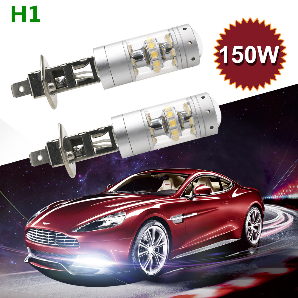 2Pcs/Lot H1 <font><b>H3</b></font> <font><b>LED</b></font> Fog Light Bulbs for Cars <font><b>Cree</b></font> Chips 3000LM 6500K Cool White 150W Automobile DRL Daytime Running Fog Lights image