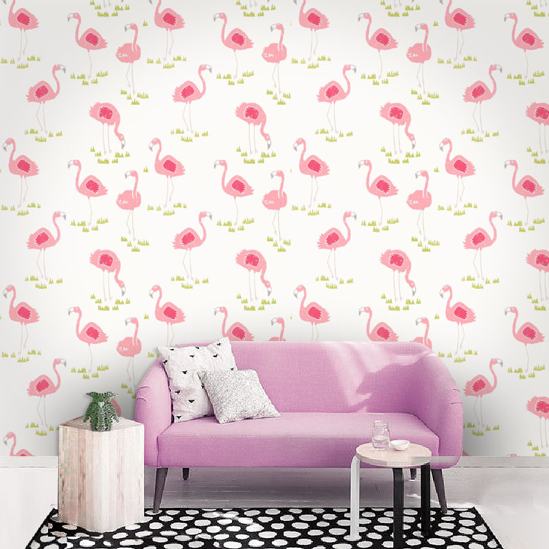 Tuya Art Wallpaper For Girl Room Cute Pink Flamingo Pattern Princess And Kid Children In Wallpapers From Home Improvement On