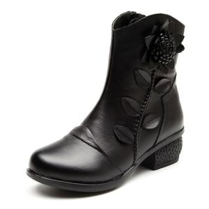 Image 2 - GKTINOO 2019 秋冬レトロブーツ手作りアンクルブーツ本物の革の靴 Botines Mujer 女性靴の女性のブーツ