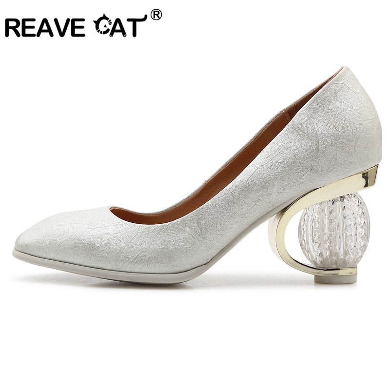 REAVE CAT Shoes woman Strange heels Ladies pumps Spring summer shoes Shallow Flower Round toe Snake