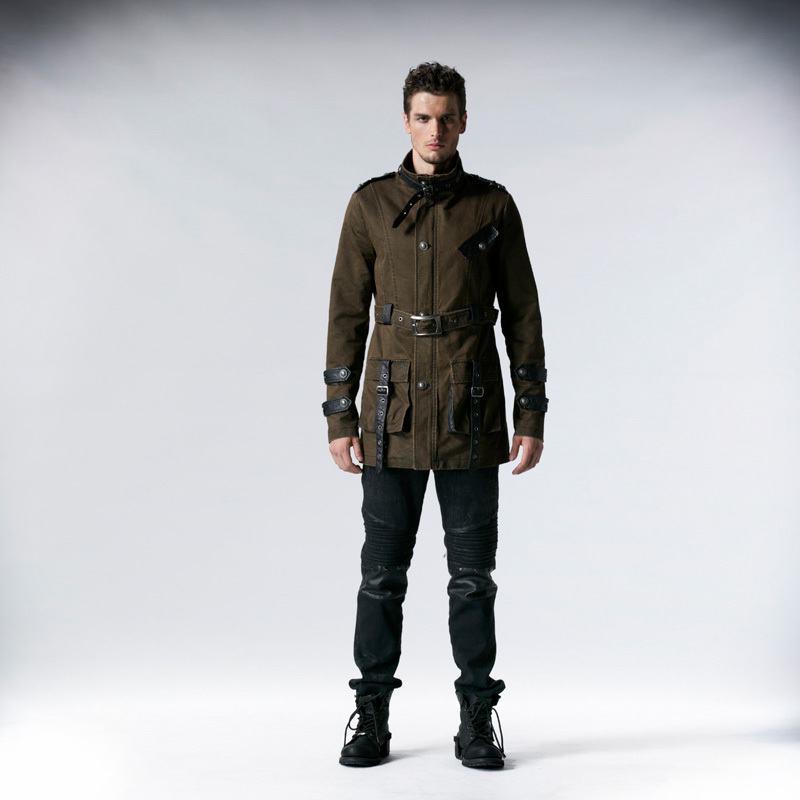 Punk Rock Fashion Cotton Men Coat Jacket Handsome Gother Steampunk In Jackets From Men 39 S