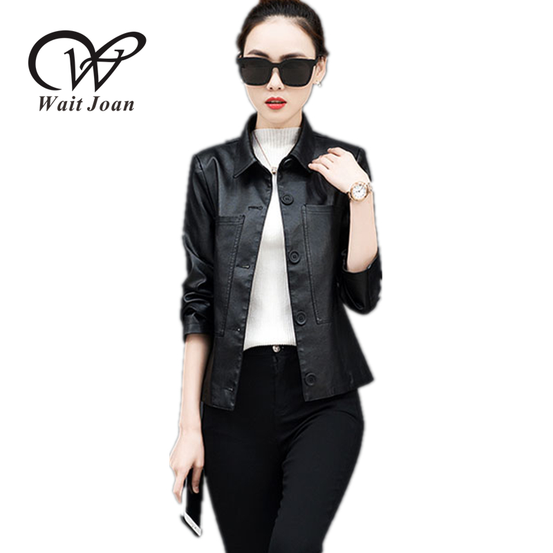 Spring Autumn   Leather   Jacket Women Clothes Zipper Cool Tops Female Fashion Plus Size Loose Thin Ladies Black Biker Jackets WJ117
