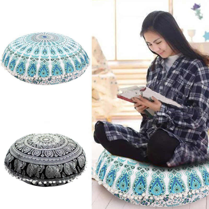 New Fashion 43*43CM Home Round Indian Mandala Floor Pillows Round Bohemian Cushions Pillows Cover Case color textile pillow Slip