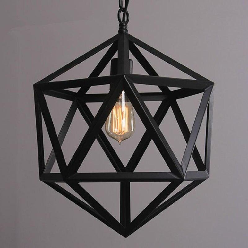 Geométrica Sombra Nave Industrial RH Loft Luces Pendientes Iluminación Lámparas País Americano de La Vendimia para la Decoración Del Hogar Negro