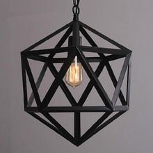hot deal buy geometric shade loft rh industrial warehouse pendant lights american country lamps vintage lighting for  home decoration black