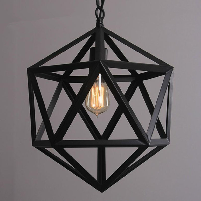 Geometric Shade Loft RH Pendant Lights Hanging Lamp Vintage Lighting  Iron Lampshade For Home Decoration Coffee Room Restaurant