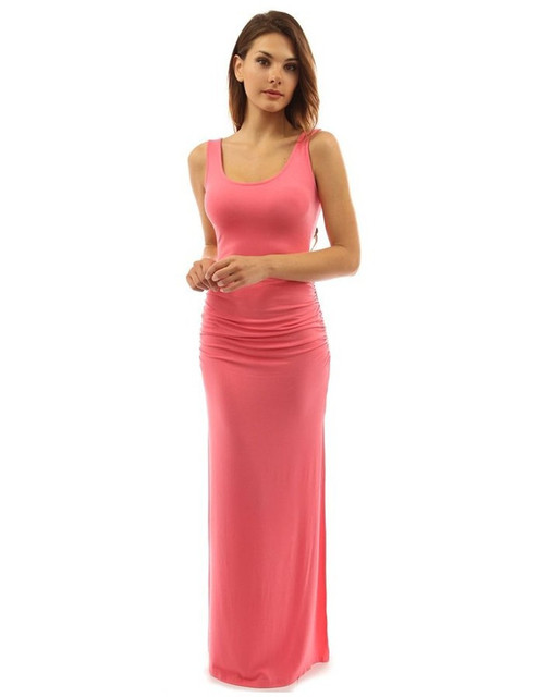 b998da59e6 New round neck sleeveless sexy vest dress Ten colors Tight open fork Solid  color maxi Dress plus size vestidos de festa