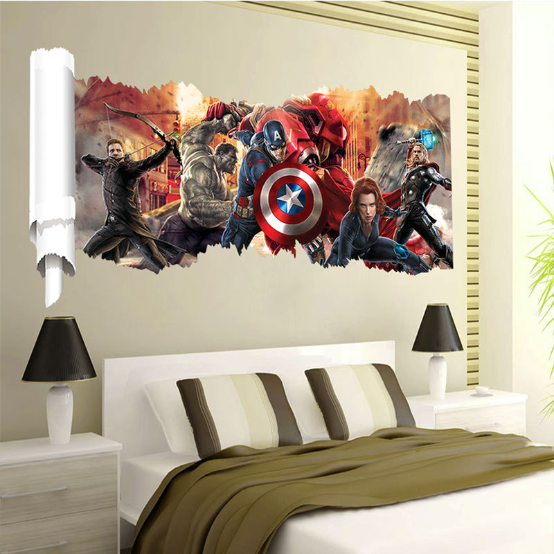 New 2015 Marvels 3d Wall Sticker Creative Home Decals For Kids Room Home Decor Wallpaper Poster Nursery Wall Art 50x90cm In Wall Stickers From Home