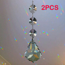 2Pcs/Lot Crystals Acrylic Octagonal Beads String Prisms Garland Chandelier Hanging Curtain Home Wedding Decoration(China)