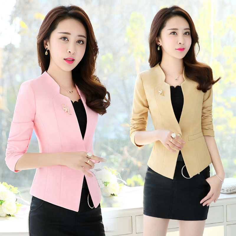 Spring Fashion Women Slim Blazer Jacket Female Coat Elegant Office Ladies Suit Casual Single Button Short Blazers Outerwear W923