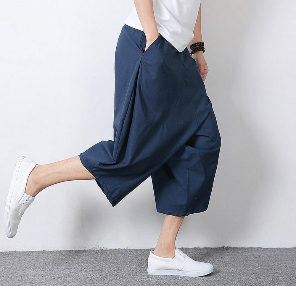 HOT 2019 casual fashion summer plus size men's clothing fluid all-match linen harem pants middlelowlevel downshift pants capris