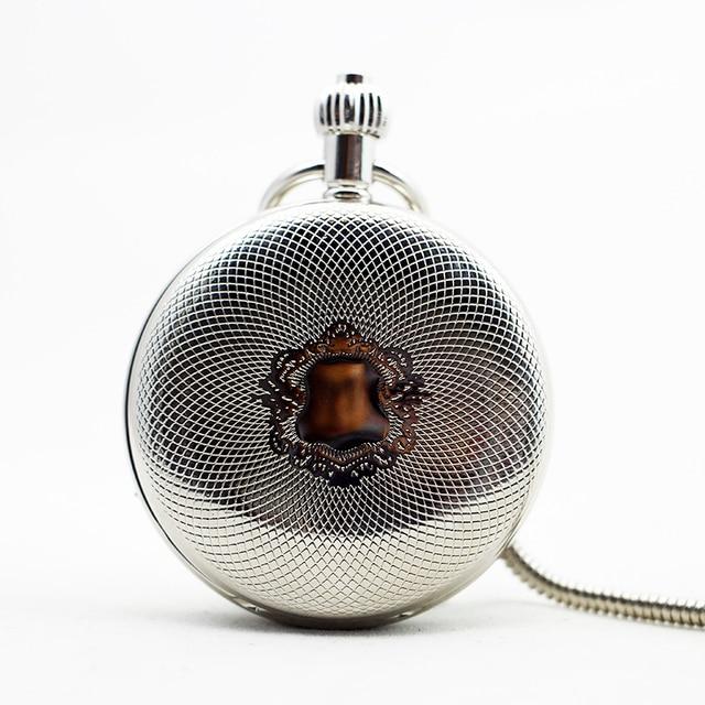 אופנה מזדמן כסף מגן עיצוב מכאני שעון כיס Fob יד winding מתנות שרשרת לגברים נשים PJX1096