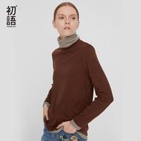 Toyouth Contrast Striped T Shirt Women Basic T Shirts Vintage Long Sleeve Tee Casual Turtleneck Tee Shirt Femme Harajuku Top
