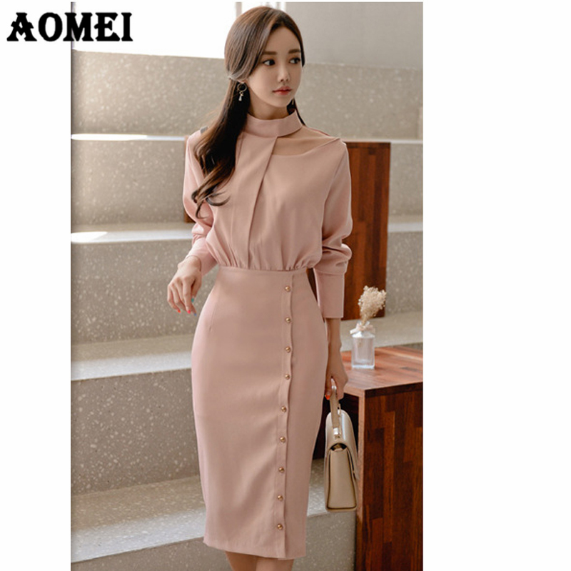 db4ad63fdf0 Women Dress Pencil Elegant Slim Office Ladies Workwear Button Up Classy  High Waist Daw Clavicle Dresses Fashion Robes Tunic Gown