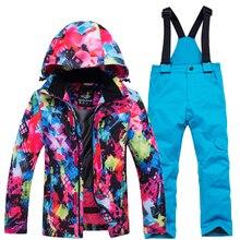 Комплекты для катания на лыжах; лыжные костюмы для девочек; куртка и штаны; детская теплая ветрозащитная Водонепроницаемая зимняя одежда для катания на сноуборде