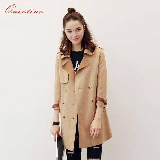 Qunitina 2017 Новая Мода Пальто Для Женщин Тонкий Полный Рукав Замши Пальто Элегантный Осень Пальто Женщин