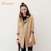 Qunitina 2017 New Fashion Trench Coat For Women Slim Full Sleeve Suede Overcoat Elegant Autumn Coat Women