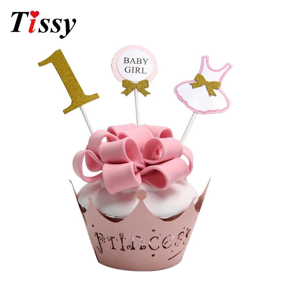 12pcslot Happy Birthday Cake Topper For 1 year old Baby first