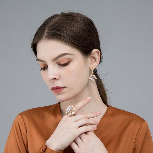 Dazz Luxury Cubic Zircon Flower Jewelry Sets Drop Earrings Ring Set For Women We