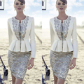 Elegant Ivory Gray Lace mother of the bride dress 2017 Plus Size 2 pieces with Jacket Mother Wedding Gown Mae Da noiva vestidos