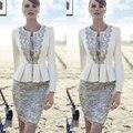 Elegante Marfim Cinza Renda mãe do vestido da noiva 2017 Plus tamanho 2 peças com Jacket Mãe Do Vestido de Casamento Mae da noiva vestidos