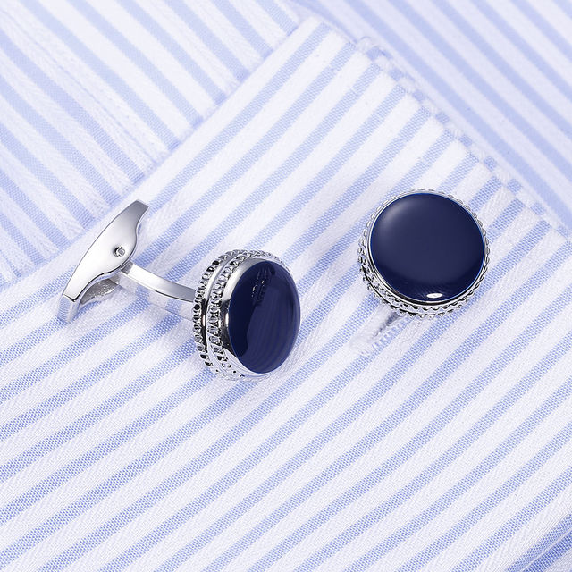 VAGULA Brass Cufflinks Classic Blue Enamel Gemelos Luxury Men Suit Shirt Cuff links gift 822 1