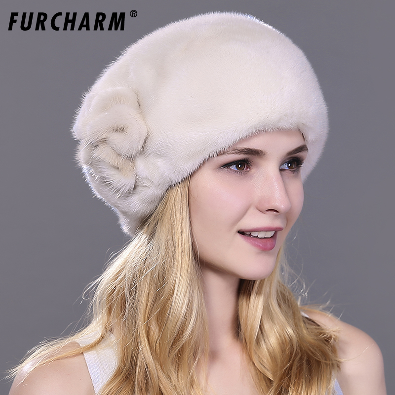 Women's Fur Hats Whole Real Mink Fur Hat with Floral Luxury Fashion Russian Winter Thick Warm High Quality Cap New Arrival new russia fur hat winter boy girl real rex rabbit fur hat children warm kids fur hat women ear bunny fur hat cap