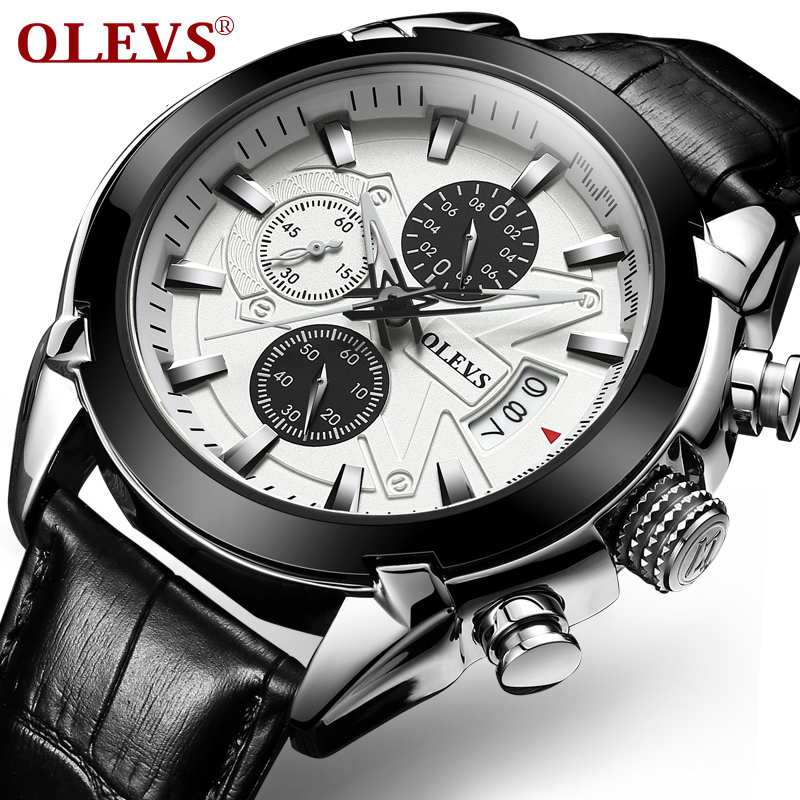 OLEVS Big Dial Sports Watches Men Business Carbon Fibre Top Brand Male Clock Leather Strap Auto Date Quartz Military Watch G6858 60%off fashion silicone bracelet watch olevs men classic design military watches quartz auto date diver sports wristwatch 2017